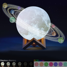 indoor abs 6 kinds phase of the moon led wall moon lamp with remote control relaxing healing moon christmas night light for kids 18 CM 3D Printing Led Lamp Moon Night Light Kids Gifts Adult Valentine's Day Touch Remote Control 3d Moon Lamp
