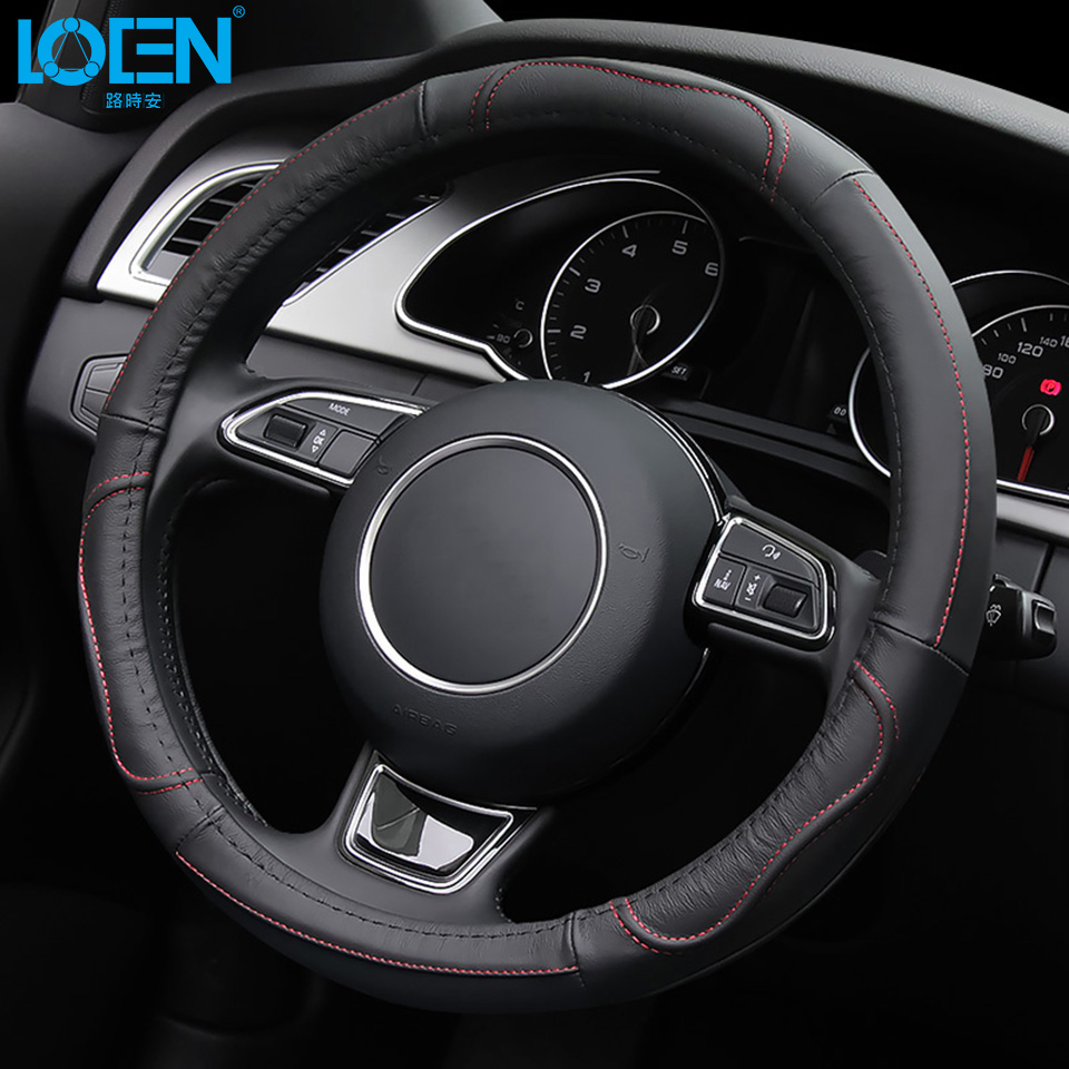 LOEN 1PC Leather Steering Wheel Cover car styling Modified for toyota benz audi bmw peugeot ford kia buick audi swift