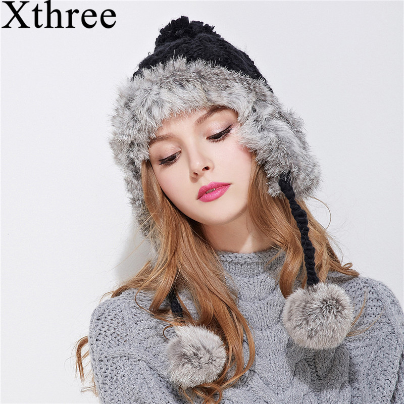 Xthree ear flaps winter bomber hat for women rabbit fur knitting hat girl warm solid color cap cozy bonnet caps
