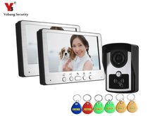 YobangSecurity Video Doorbell 7 Inches Video Door phone Door Entry System with Key 1 Camera & 2 Monitor