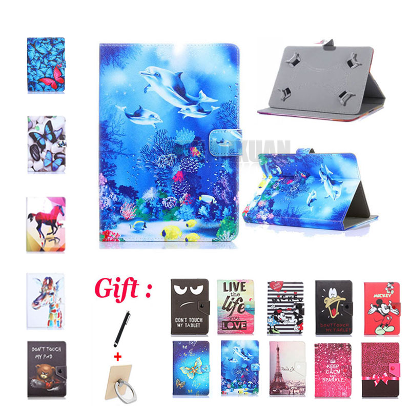 (No camera hole) Cartoon Cover for <font><b>Supra</b></font> M74NG/<font><b>M720G</b></font>/M722/M723G/M725G/M726G 7 Inch Tablet PU Leather Stand Case + 2 Gifts image