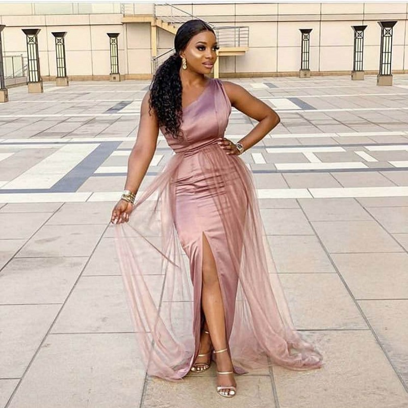 One Shoulder Side Slit Floor Length Elastic Satin Mermaid Bridesmaid Gowns Cheap Satin Bridesmaid Dresses