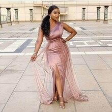 One Shoulder Side Slit Floor Length Elastic Satin Mermaid Bridesmaid Gowns Cheap