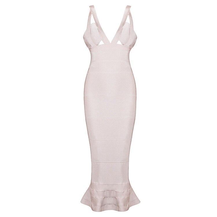 De veau Mi Dress 4 Élégant Noir Femmes kaki Moulante blanc Couleurs Fishtail Trompette 2016 Cou Sexy Bandage V rouge wXYfIq