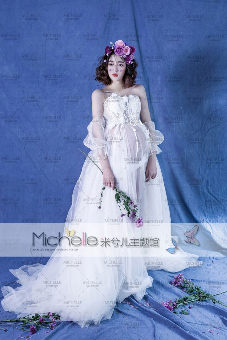 new pregnant maternity women photography fashion props dress romatic fancy baby shower free shipping white dress