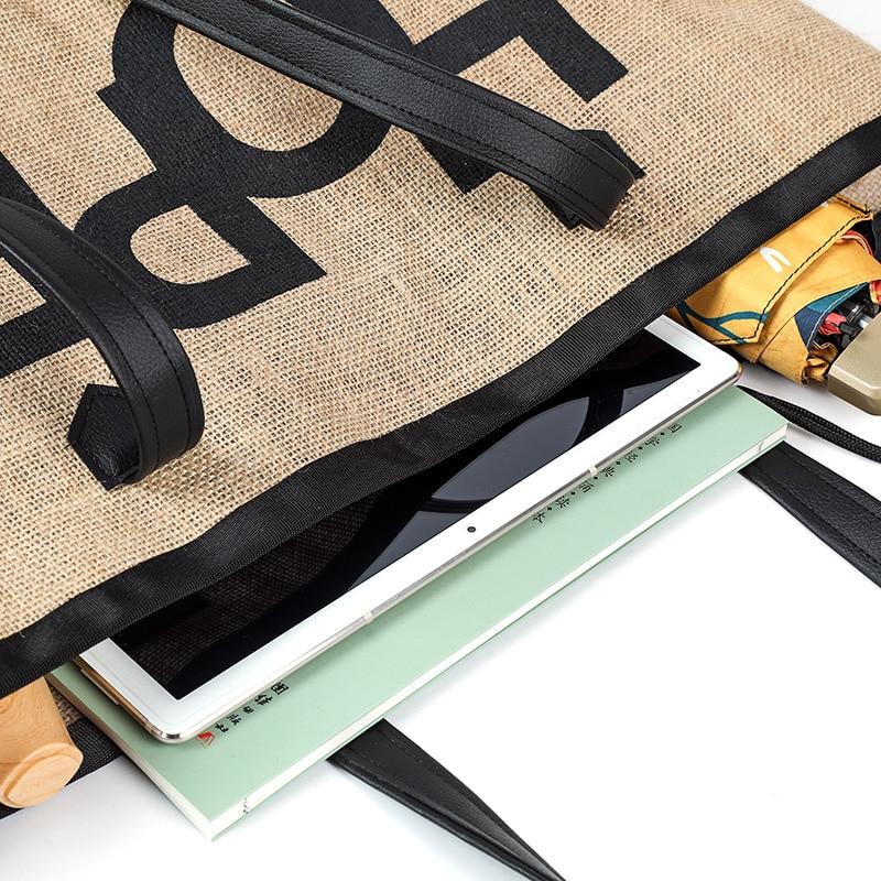 Grand sac de plage en lin detail