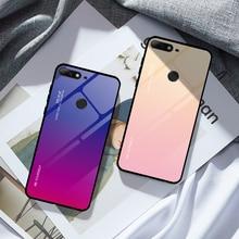 Funda gradiente para teléfono Honor 7A RU 5,45 7A Pro 7C Pro 5,99, funda de vidrio templado para Huawei Y9 Y6 Prime 2018 Y7 Prime 2019