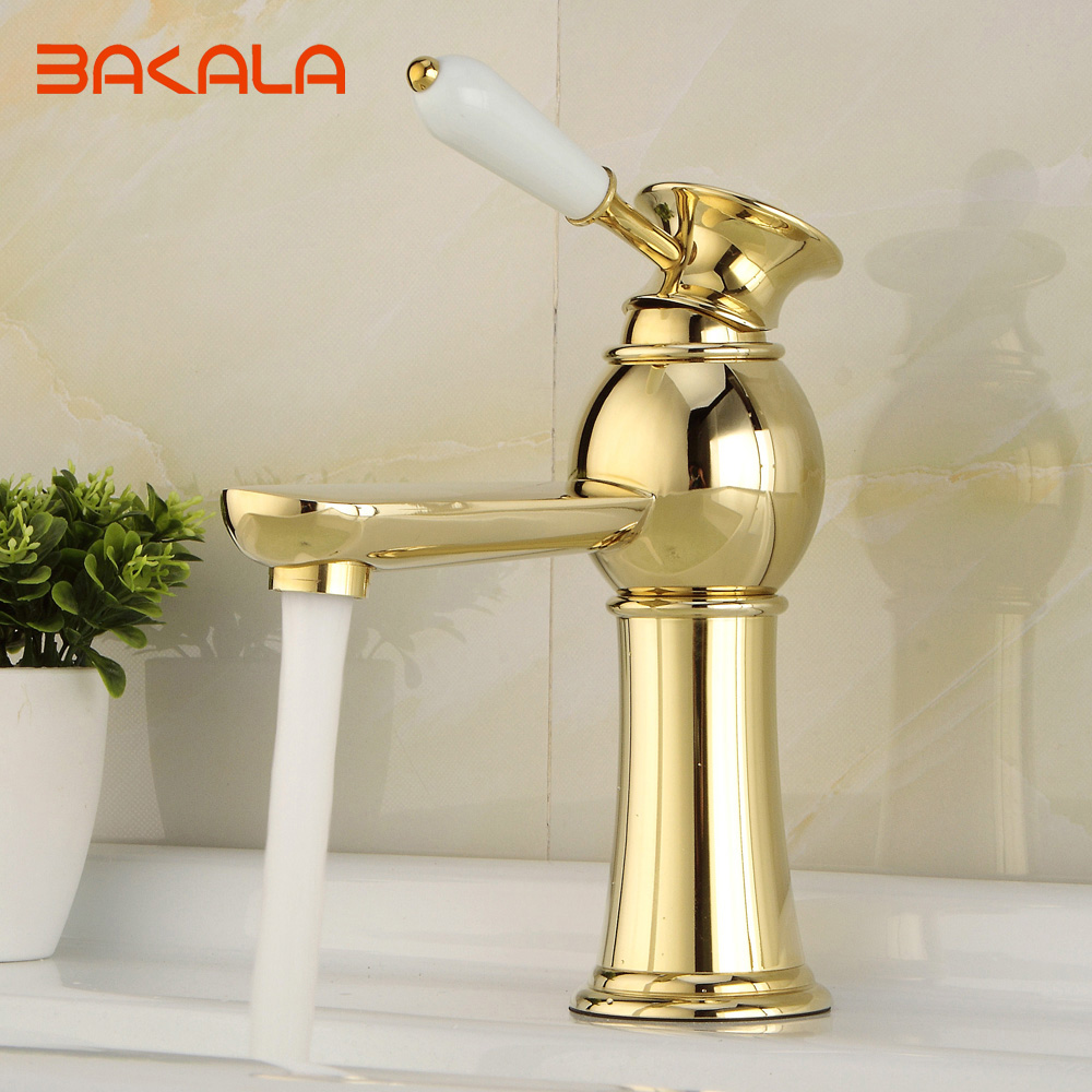 BAKALA Gold Bathroom Faucets Single Holder Single Hole brass basin faucet Hot and cold gold bathroom