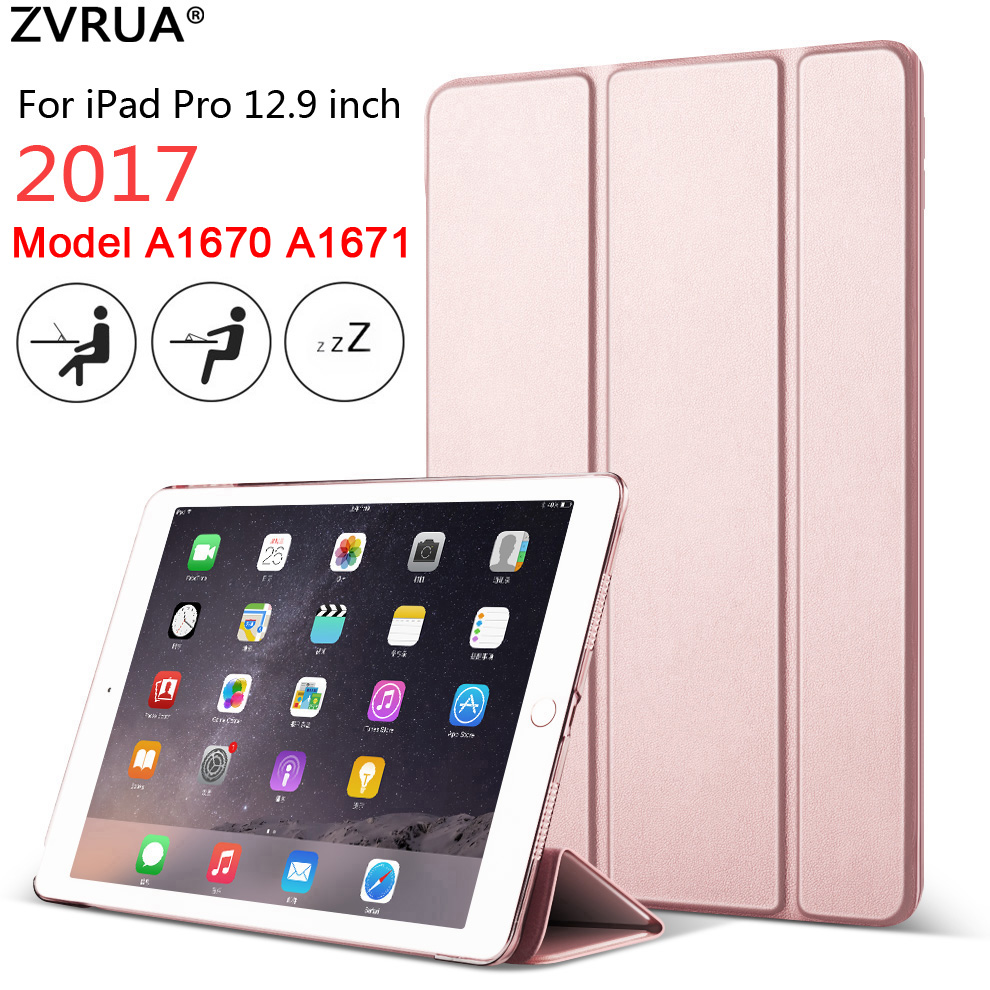Case For IPad Pro 12.9 Inch 2017 Model A1670 A1671, ZVRUA Color Ultra Slim PU Leather Smart Cover Case Magnet Wake Up Sleep