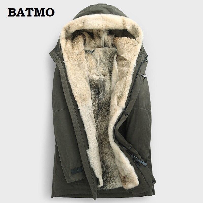 Batmo 2018 nouvelle arrivée d'hiver de haute qualité chaud fourrure de loup linner capuche vestes hommes, hommes de loup linner parkas, plus-taille M-5XL
