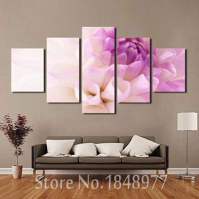 5 piece Modern modular pictures oil painting purple flowers wall art ...