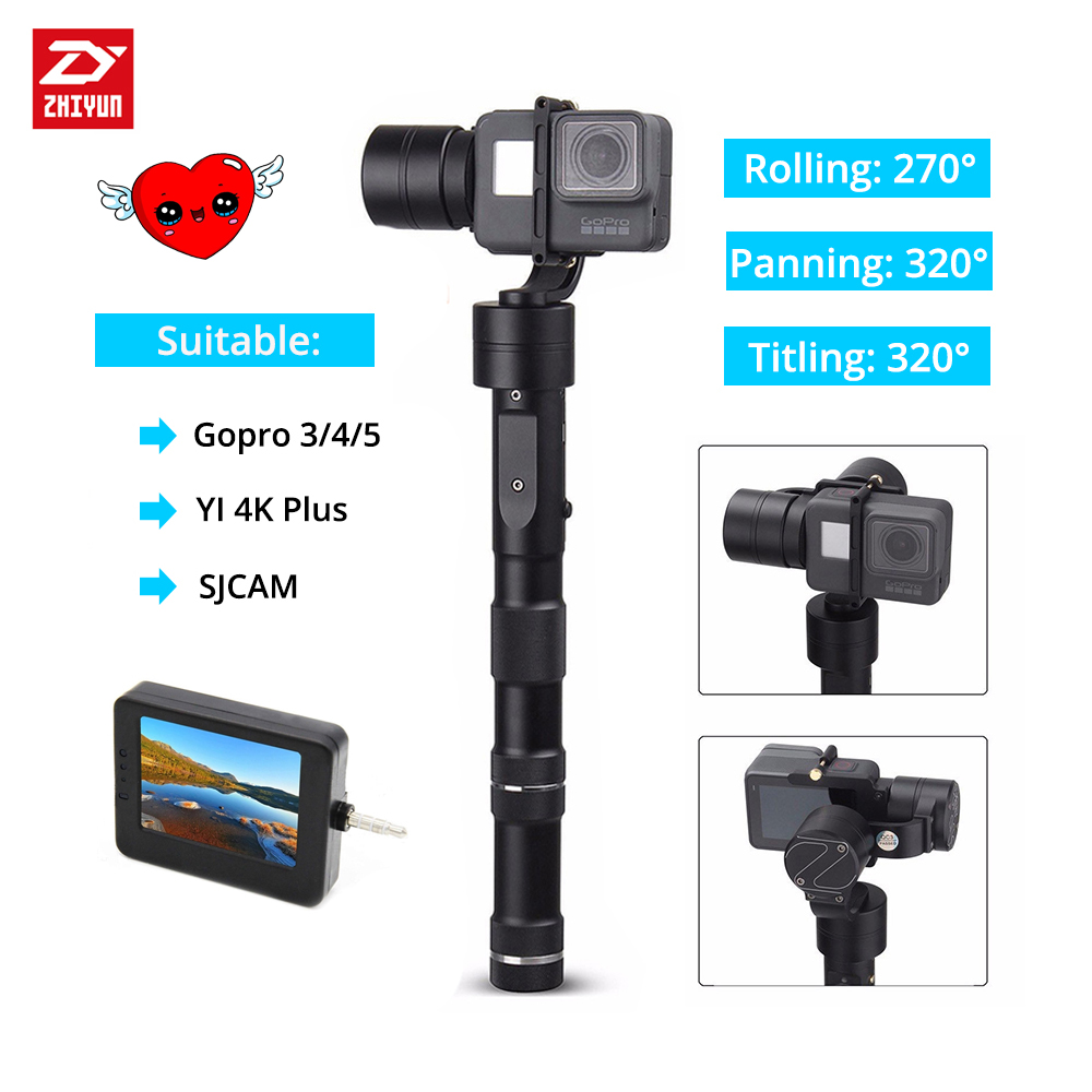 Zhiyun Z1 EVOLUTION 3 Axis Handheld outdoor action camera Gimbal Stabilizer for GoPro Hero 3 4 5 sport Cameras YI 4K Plus zhiyun z1 rider2 3 axle handheld brushless gimbal for skiing