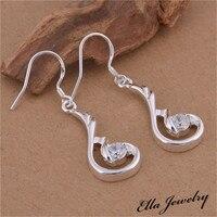 New Arrival Jewelry Silver Drop Earrings for women White Crystal Earring E512
