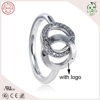 Top Quality New Collection Famous Brand 925 Sterling Silver Double Circle Ring