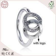Одежда высшего качества Новая коллекция известного бренда 925 серебро двойной круг, кольцо