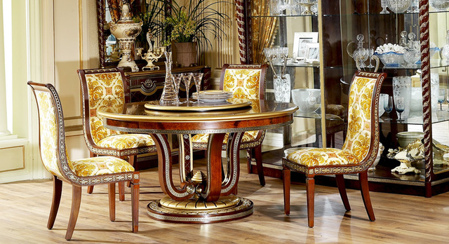 Luxury Golden And Brown Color New Classical Style Wood Carving Round Dining Table