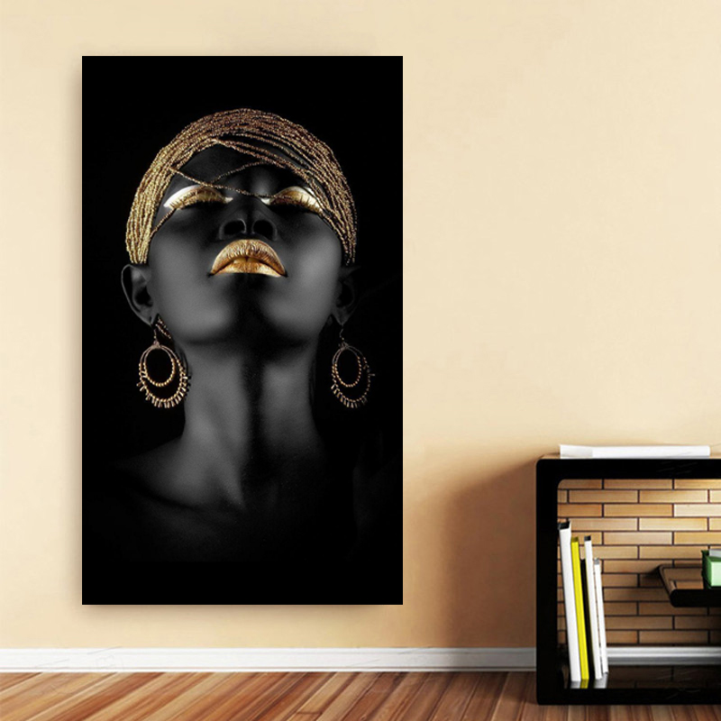 HTB1JDNgXPDuK1Rjy1zjq6zraFXaM Canvas Painting Wall Art Pictures prints Black woman on canvas no frame home decor Wall poster decoration for living room