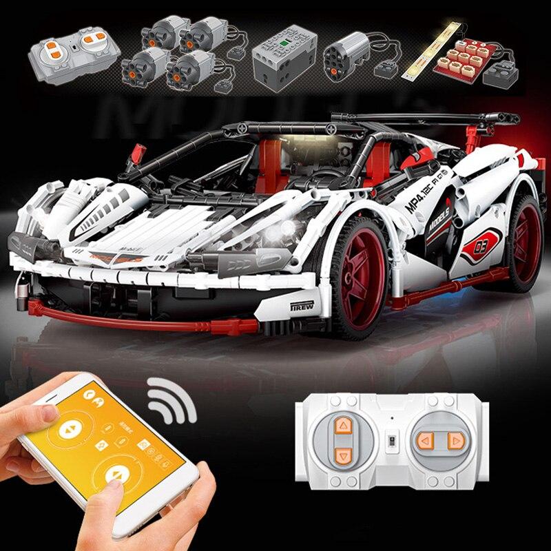 Kontrolowane przez aplikację LED wyścigi samochodowe kompatybilny Legoing Technic Building Blocks chłopcy prezenty urodzinowe pilot zdalnego sterowania samochodu zabawki dla dzieci w Klocki od Zabawki i hobby na  Grupa 1