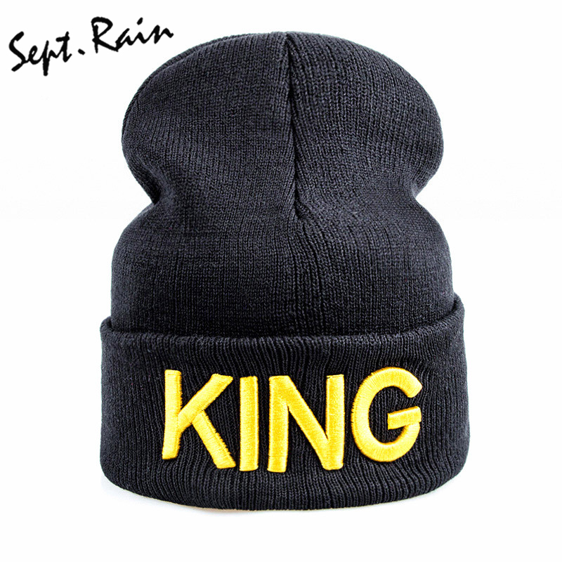 KING QUEEN Beanie Winter Hats Cap Men Women 3D Embroidery Hat Beanies  Knitted Hiphop Hat Female Couple Warm Winter Cap BLACK