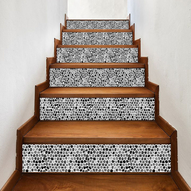 black white tiles geometry stairs stickers diy vinyl decals wall