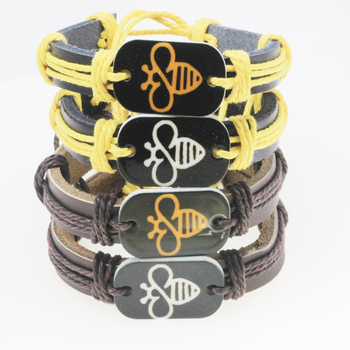 Customized  Bracelet Lovely Bee Leather Bracelet AliExpress Best Selling Handmade Bracelets