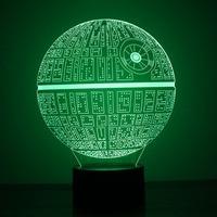 Star Wars Death Star Lamp 3D LED Night Light Table Lamp USB Room Decor Colorful Lighting