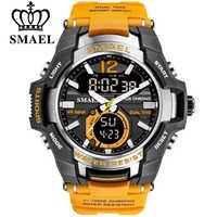 2019 montre de Sport SMAEL hommes montres étanche 50M montre-bracelet Relogio Masculino grand cadran Quartz numérique armée militaire horloge 1805