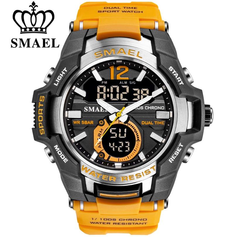 2019 SMAEL Sport Watch Men Watches Waterproof 50M Wristwatch Relogio Masculino Big Dial Quartz Digital Military Army Clock 1805