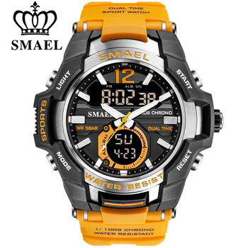 SMAEL Sport Watch mężczyźni zegarki wodoodporny 50M zegarek Relogio Masculino duża tarcza kwarcowy cyfrowy wojskowy armia zegar 1805 tanie i dobre opinie 22cm Podwójny Wyświetlacz QUARTZ 5Bar Klamra Z tworzywa sztucznego 18mm Akrylowe Kwarcowe Zegarki Na Rękę Nie pakiet