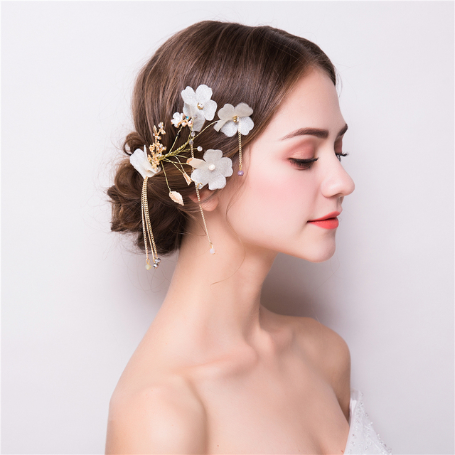 Gold Color 2PCS Hair Accessories Tassel Princess Flower Headdress