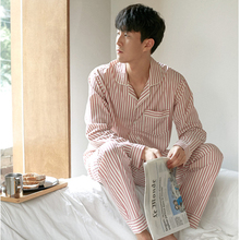 Men and women Japanese striped pajamas men spring and autumn cotton men's long-sleeved couple home service suit