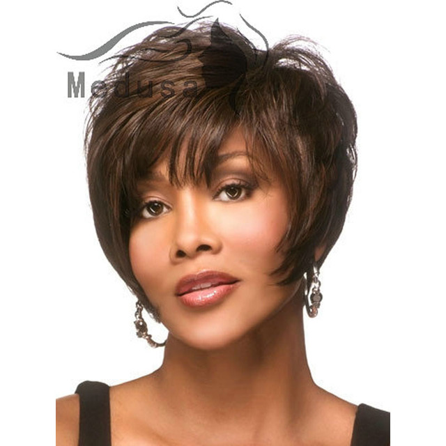 Medusa Hair Products Sassy Afro Shag Styles Short Brown Wig With