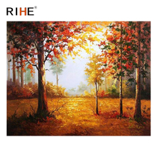 RIHE Fall Tree Diy Painting By Numbers Abstract Forest Oil Painting On Canvas Cuadros Decoracion Acrylic Wall Picture For Room rihe fall park diy painting by numbers chair woman oil painting on canvas cuadros decoracion acrylic wall picture home decor