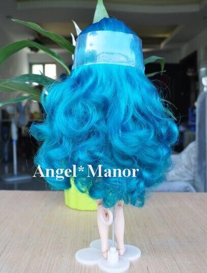 Бесплатная доставка, Волосы для блит кукла с головы, Синий вьющиеся длинные волосы, Для подарка девушке, Tf084