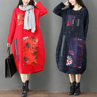 Plus Size Autumn and Winter Traditional 2 Colors Cotton and Linen Women The National Wind Costume Ethnic Style Dress NY188906