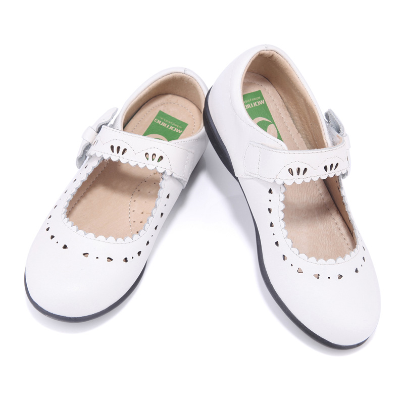 Girls shoes spring and autumn white carving breathable leather children's shoes butterfly-knot ballet flats princess shoes girl shoes spring and autumn flash cute princess children shoes soft insole flat bottom show shoes butterfly knot convenience