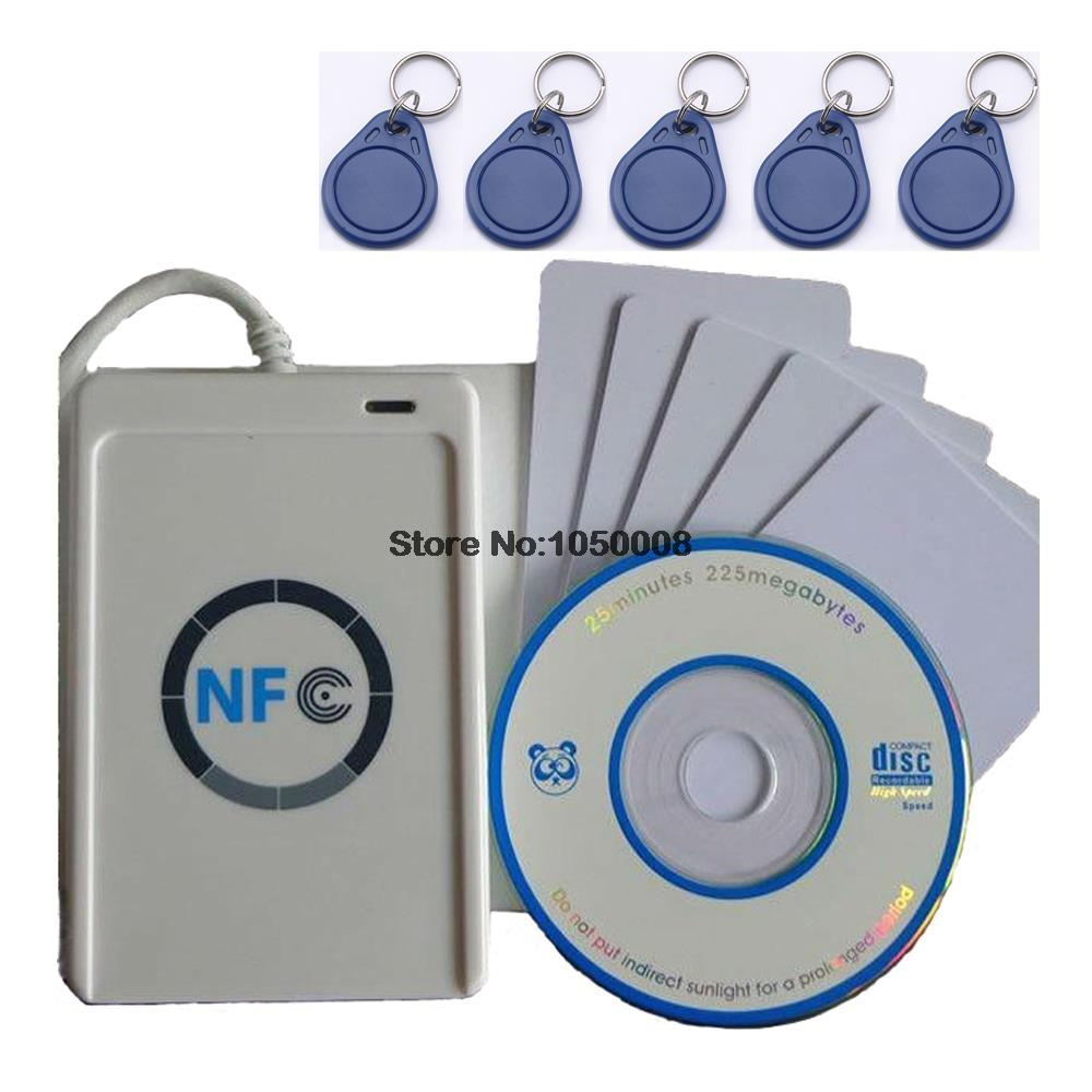 ФОТО USB ACR122U-A9 NFC Reader Writer duplicator RFID Smart Card + 5pcs UID changeable Cards + 5pcs UID keyfob +1 SDK CD