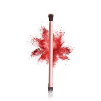 LAMUSELAND pędzel do makijażu podwójna głowica cień do powiek pędzla narzędzia do makijazu #1304 tanie i dobre opinie Włókna wełny 1piece Cień do oczu Z tworzywa sztucznego