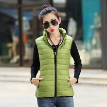 Echoine Autumn Winter Women Jacket Vest 6 Candy Colors Stand Collar Zipper Down Coats Plus Size Ultra Thin Slim Waistcoat
