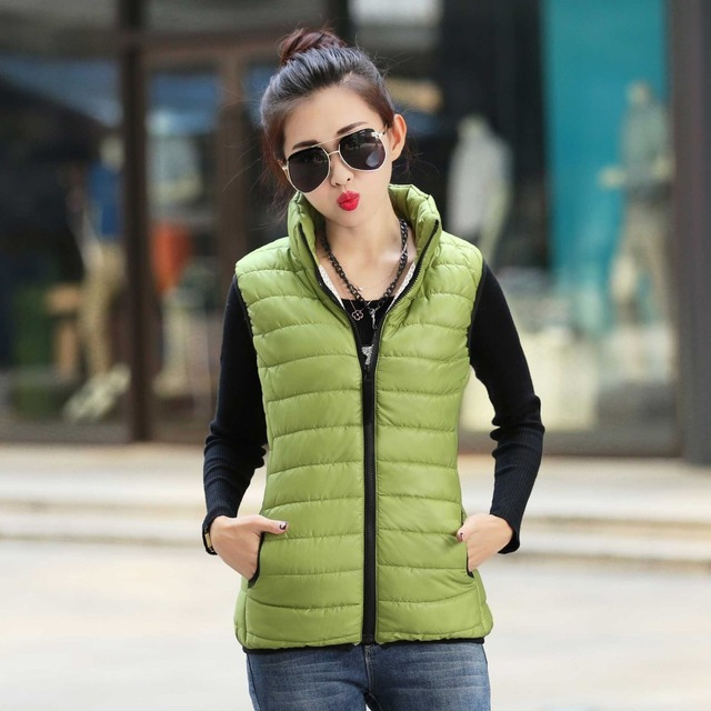 Echoine Autumn Winter Women Jacket Vest 6 Candy Colors Stand Collar Zipper Down Coats Plus Size Ultra Thin Slim Waistcoat