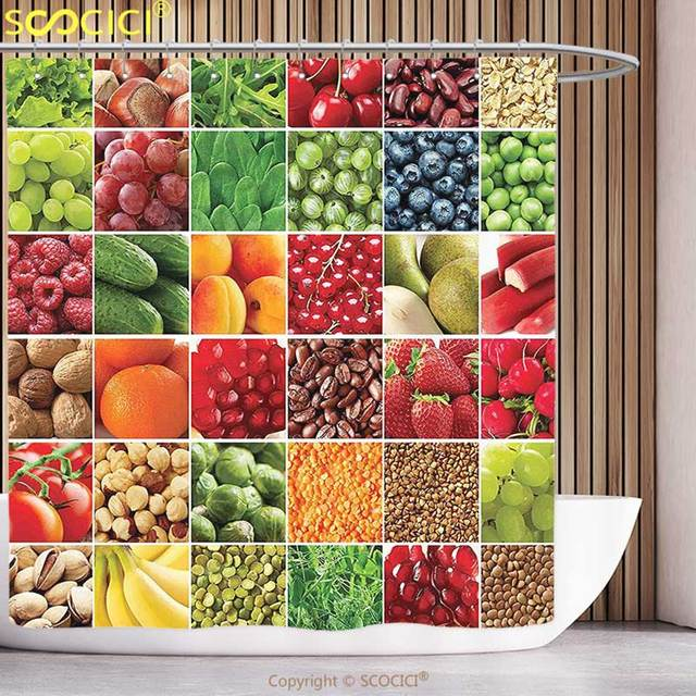 Stylish Shower Curtain Colorful Fresh Fruits Vegetables In Squares Healthy Eating Ingredients Agriculture Collage Multicolor