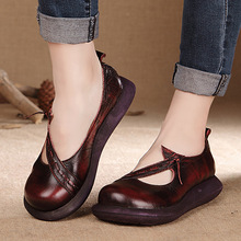 Spring handmade genuine leather shoes retro shoes with thick hollow muffin bottom slope leisure shoes