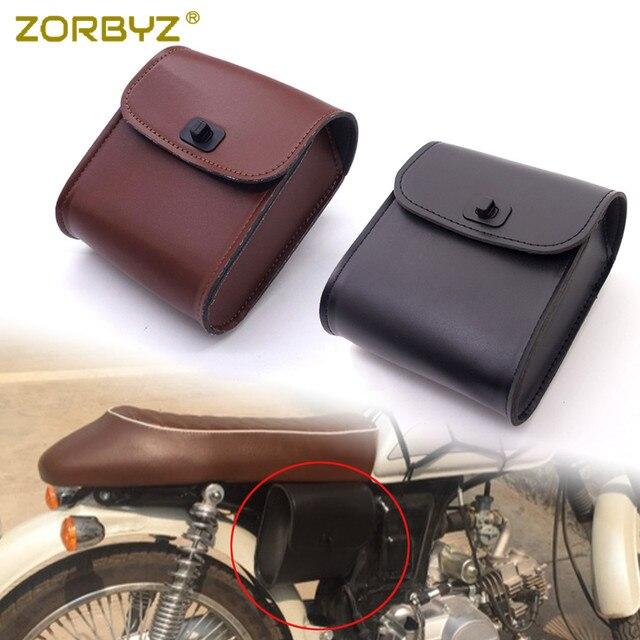 Zorbyz Mini Pu Leather Motorcycle Handlebar Sissy Bar Saddlebag Saddle Tool Bag For Harley Honda Yamaha