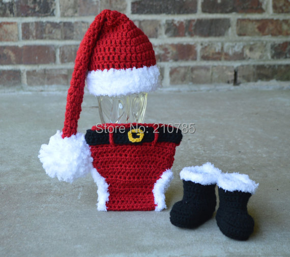 2632a70dfbb Free shipping Crochet Santa Hat Diaper cover boots set