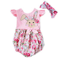 Newborn Baby Girls Clothing Floral Bunny Bodysuits Short Sleeve Cute Animals Jumpsuit Outfits Clothes Baby Girls 0-24M