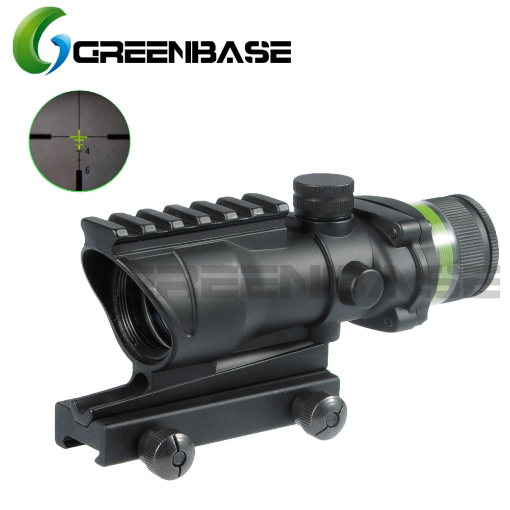 Greenbase Tactical Acog Style 4x32 Rifle Scope Yellow/Green Illumination Source Optic Real Fiber Up to5.56/.223 Hunting shooting
