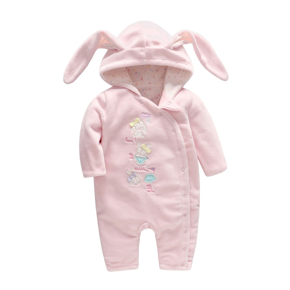 Autumn Cute Cartoon Baby Girl Clothes Newborn Baby Coral Velvet Pink Rompers with Rabbit Ears Baby Floral Two-layered Onesie pink coral
