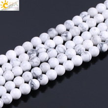 CSJA 4mm 6mm 8mm 10mm Size Natural Stone Spacer Bead White H