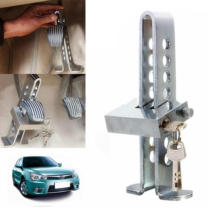 C03 Brake Pedal Lock Car Stainless Steel Clutch Anti-theft Security Silver