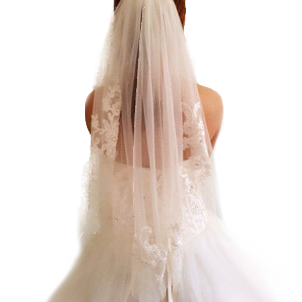 1T White Ivory Lace Appliques Rhinestone Bridal Veil With Comb Wedding Women Elegant Hairbands One Layer